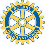 Gold and blue spoked gear logo for the Rotary International club.