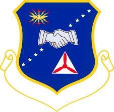 United States Civic Air Patrol blue logo of two hands shaking.