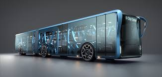 Future bus design of a blue 6 wheel bus with space age design.