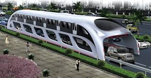 Artist rendition of future silver straddle bus on rails that go over car traffic.