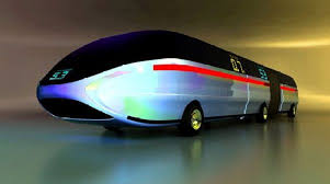 Artist design of streamlined bullet shaped silver bus of the future.