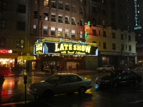 Night lights or the marquis at the Ed Sullivan Theater in NYC's Times Square.