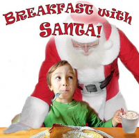 Santa and a wide eyed kid eating breakfast together with hot chocolate.