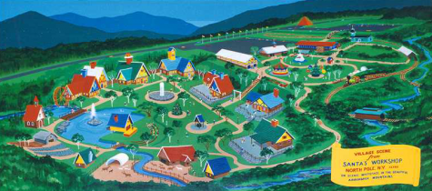 Artist's rendition of Santa's Workshop showing many decorated buildings and a beautiful river surrounding it.