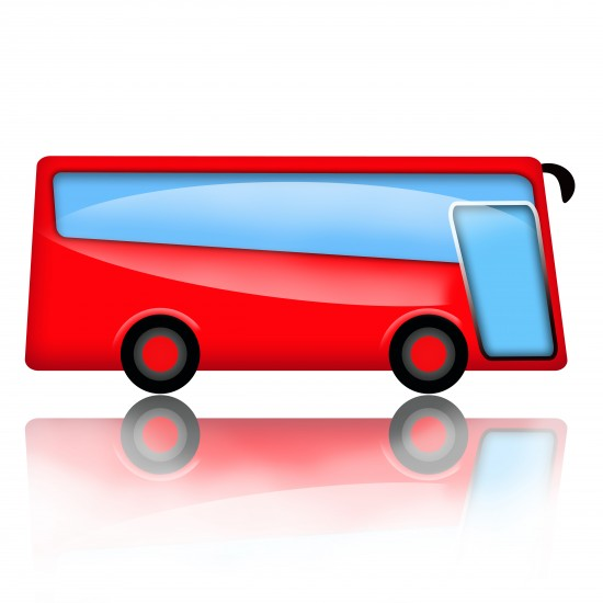 Cartoon illustration of a red charter tour bus.