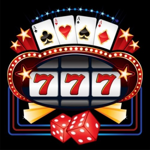 Image of a casino slot machine with four aces and 3 sevens and a pair of red dice.