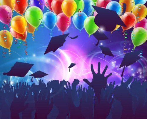Colored ballons and graduation caps thrown in the air at an artist's rendition of an celebratory party event.