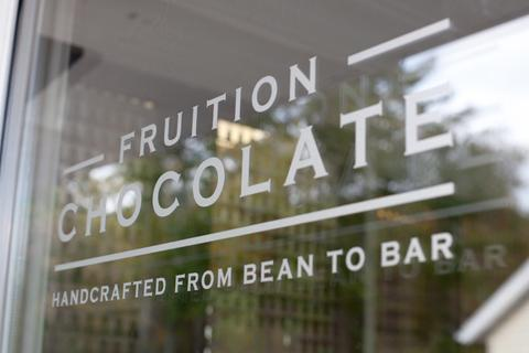 Fruition bean to bar craft chocolate Woodstock, NY shop window glass.