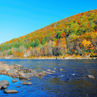 Autumn Mountain with river panorama view and colorful foliage in the Hudson Valley, NYforest.