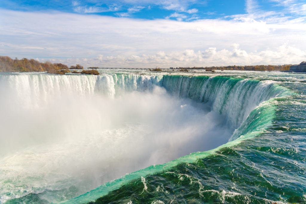 A view of Niagara Falls during a bright sunny day.