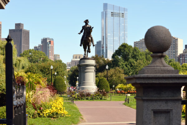 Paul Revere on the Freedom Trail historical path in Boston.