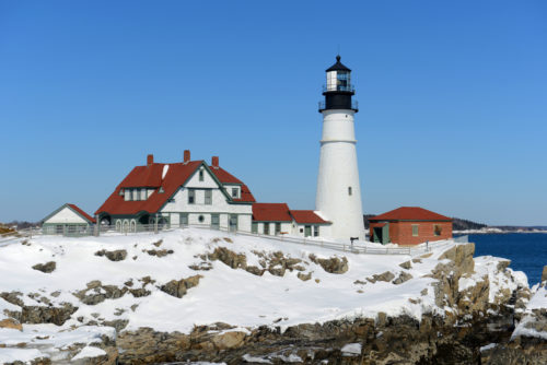 The Portland Dead Lighthouse during winter in Cape Elizabeth, Maine.