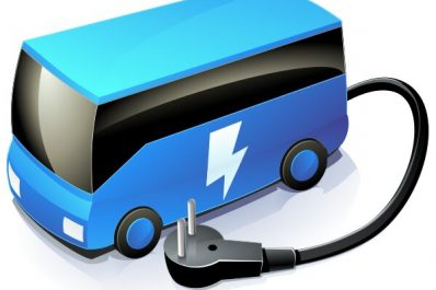 A artist's rendition of a blue electric bus with a black power cord projecting out the back.